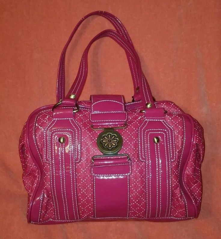 Melie Bianco Large Handbag Purse Hot Pink Flower Closure  | eBay
