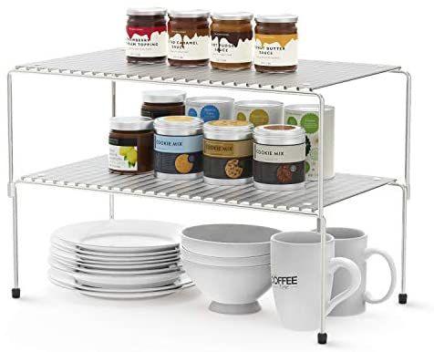 Amazon Com Wosovo Set Of 2 Kitchen Cabinet Organizer And Storage Shelves Stackable Expandable Storage Racks With A Storage Rack Bathroom Storage Racks Shelves