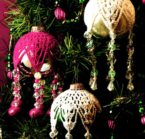 CHRISTMAS 'Victorian' Snowflake Beaded Baubles by TheAtticofKitsch