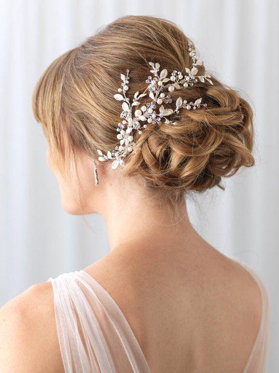 Floral Vine Bridal Clip, Rhinestone & Pearl Wedding Clip, Bridal Botanical Vine, Pearl Bridal Hair A