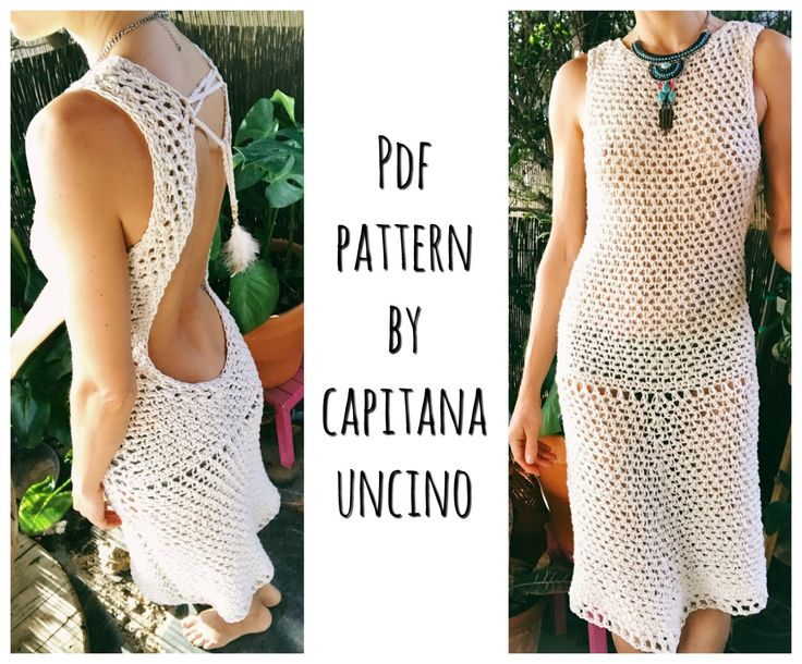 PDF-file for Crochet PATTERN Zahara Crochet, open back, Top and Dress Sizes XS,S,M,L by CapitanaUncino on Etsy