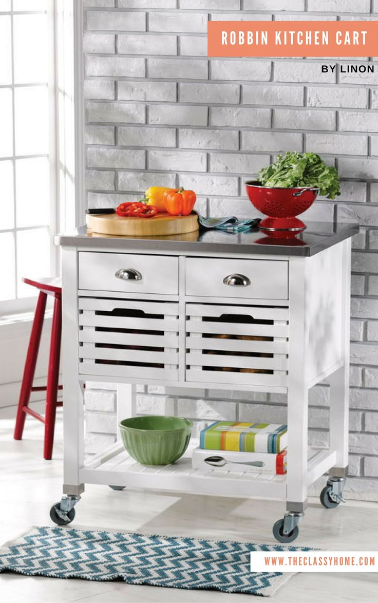 Robbin Transitional White Wood MDF Stainless Steel Kitchen Cart