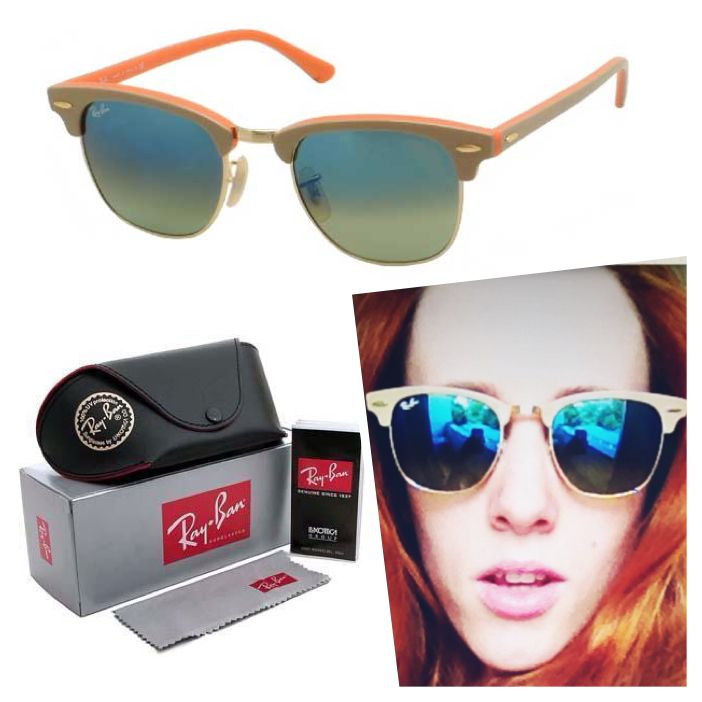 ray ban mirrored clubmaster sunglasses  ray ban rb3016 clubmaster 1101/16 gender: unisex frame colour: khaki orange