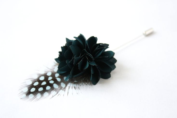 Flower and Feather Lapel Pin - Wedding Boutonniere - Teal Blue Dahlia Flower and blue Helmeted Guineafowl feather - Dapper Men Wedding Groom by TheGreyDeer on Etsy
