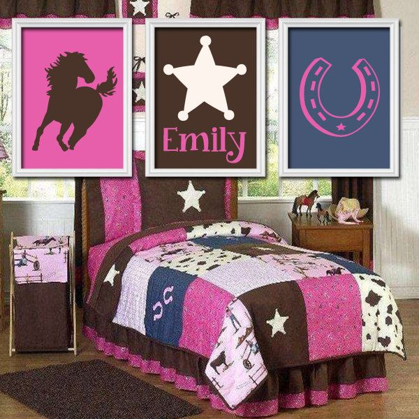 Girl Horse Wall Art Cowgirl Bedroom Decor Baby Girl Nursery Artwork Canvas Or Prints She Leaves A Little Sparkle Paisley Set Of 3