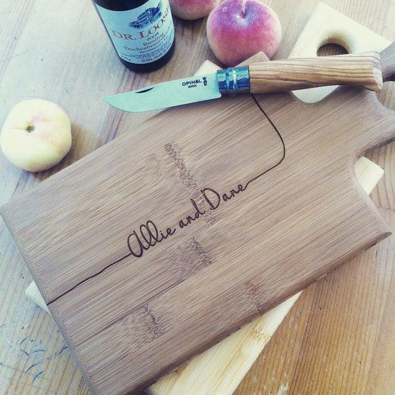 Personalized Serving Board, Custom Engraved Paddle Cutting Board, Bamboo Carved Board, Customized Gift for Couple, Unique Wedding Gift