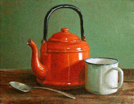 """Orange Kettle,"" oil on canvas, by Christopher Thornock. Exhibit at Watts Fine Art, Zionsville, Indiana."