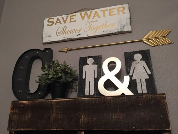 Black Background Boy/girl bathroom signs by HazelGreysShop on Etsy