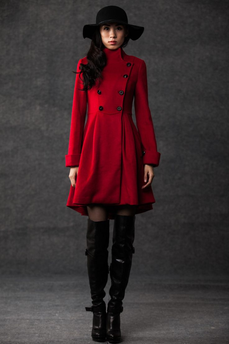winter coats for women red cashmere jacket. $159.00, via Etsy.