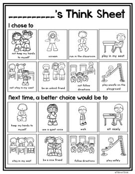 This visual think sheet is a simple way for students to reflect on their choices and think of better choices for the future.