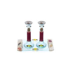 Glass Shabbat Candlesticks of Leaves, Pomegranates and Accompanying Tray