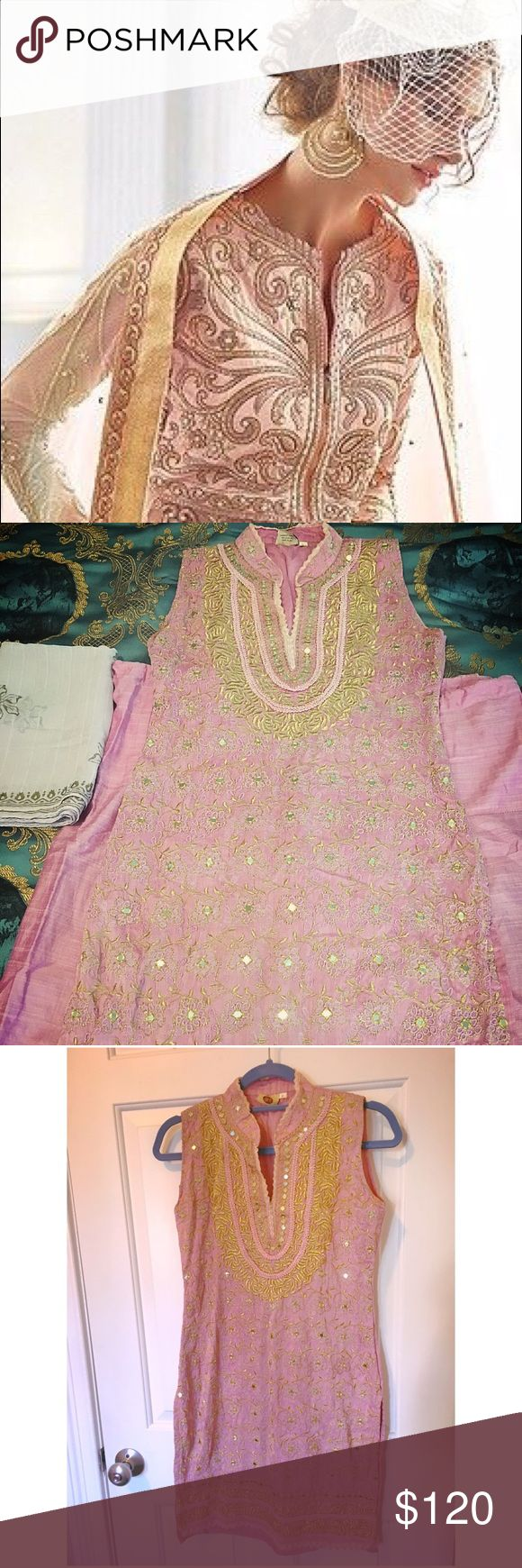 Indian/Pakistani dress Sari Lehenga Beautiful gold embroidery and mirror work motifs on pink silk dress. Bollywood style (pic 1 for reference) 3 piece set. Comes with matching pants and scarf. Ethnic wear. Fits Sz 2-4 Dresses