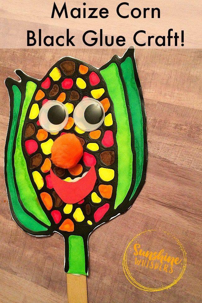Black Glue Maize Corn Craft for Kids  Super fun Fall Craft for Kids. Black Glue Corn Craft. You can leave it as a pretty corn craft or make it into a fun corn puppet!