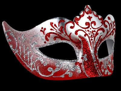 Stella Masquerade Mask - Silver Red Excellent silver & red base with hand painted red & silver swirls - Delightful ladies masquerade mask.