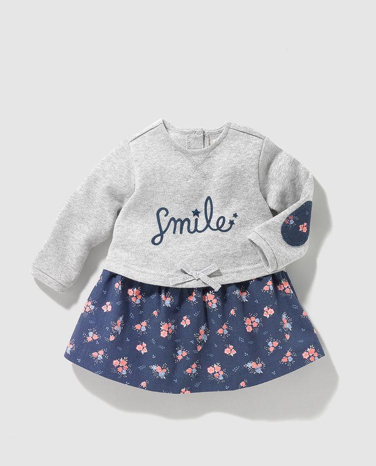 Vestido combinado de bebe niña Brotes con estampado de flores
