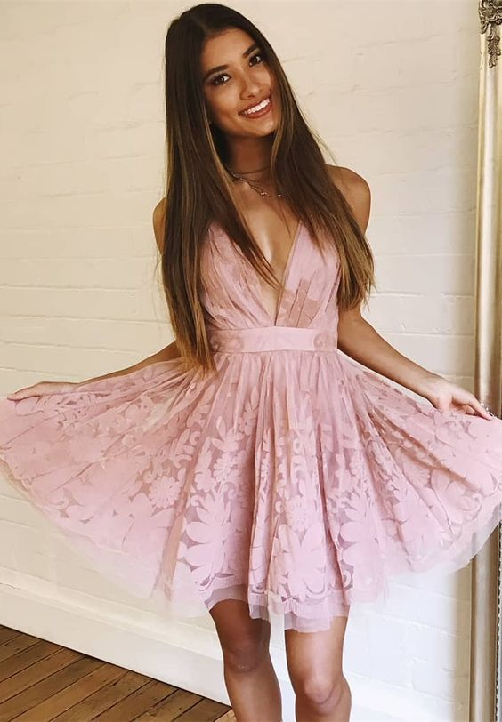 45999d3a45d5 2018 Hot Selling Sexy Deep V Neck A-Line Short Homecoming Dress Pink prom  Dress,#shortdress,#homecomingdressshort,#simplepromdress