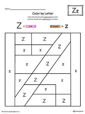 Uppercase Letter Z Color-by-Letter Worksheet Worksheet.Fill your child's life with colors! The Uppercase Letter Z Color-by-Letter Worksheet will help your child identify the uppercase letter Z and discover colors and shapes.
