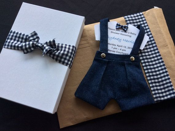 Luxury Package with Bow Tie Onsie Baby Shower Invitation, Box and Custom Mailing Envelope, Haute Look Invitation
