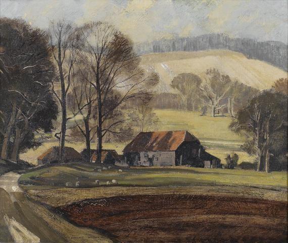 Rowland Hilder (British, 1905-1993) The Valley Farm 51 x 61 cm