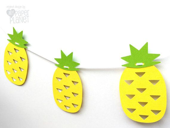 Tropical pineapple banner. Yellow and Green. by MyPaperPlanet