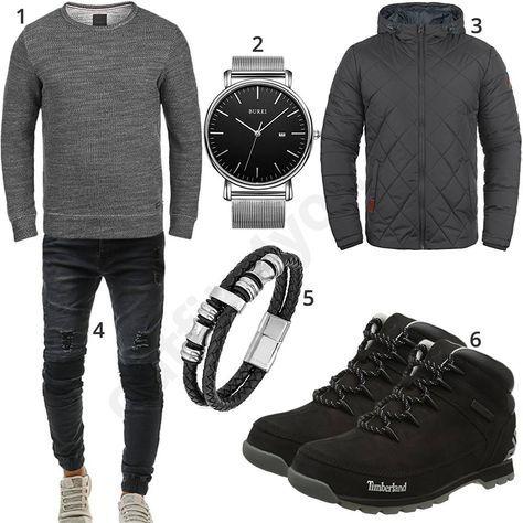 Lässiger Herren-Look mit Bikerjeans und Timberland Boots (m0630) #timberland #outfit #style #fashion #menswear #herren #männer #shirt #mode #styling #sneaker #menstyle #mensfashion #menswear #inspiration #cloth #clothing #ootd #herrenoutfit #männeroutfit