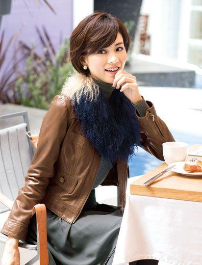 キルティングラムレザージャケット 通勤スタイル特集 特集   女性ファッション通販サイトFABIA(ファビア)