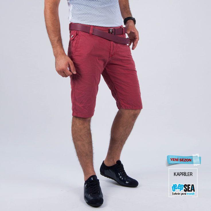 RENKLİ KEMERLİ KETEN CAPRİ BORDO  İşte Link: http://goo.gl/FPX4Ss  #kapriler #trend #moda #erkekmodası #DeepSEA #yenisezon #yazmodası