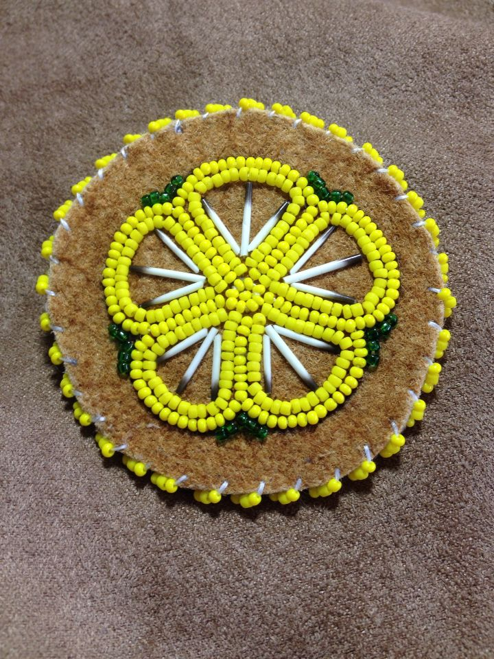 Yellow Lapel Pin with Porcupine Quills by Alaska Beadwork.