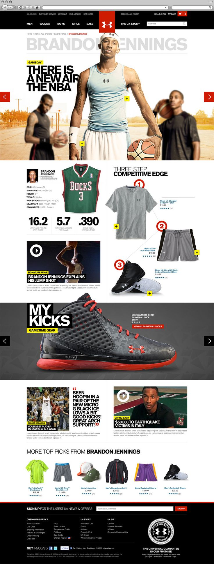 The 2011 redesign of Under Armour's website.