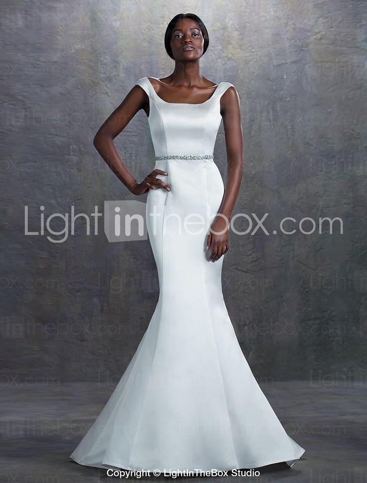 Vestido de Noiva - Marfim Sereia Quadrado Cauda Corte Cetim de 2015