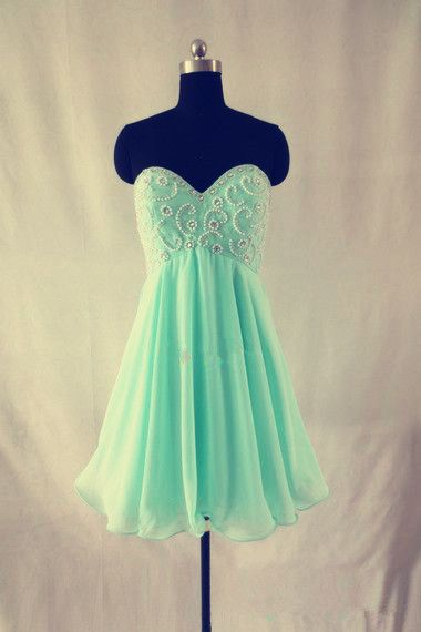Mint Green Homecoming Dress,Chiffon Homecoming Dresses,Straps Homecoming Gowns,Short Prom Dress,Beading Prom Dresses