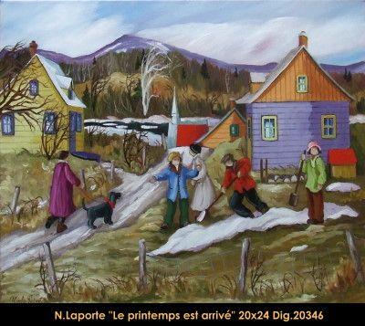 Nicole Laporte original oil painting on canvas #nicolelaporte #art #artist #canadianartist #quebecartist #naiveart #springscene #last #snow #originalpainting #oilpainting #balcondart #multiartltee