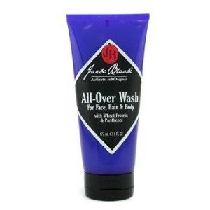 Jack Black All Over Wash 6oz by Jack Black. $11.87. A gentle, soothing wash for the whole body.. Jack Black's All-Over Wash is a supple, thick lather formula that cleanses and refreshes face, hair and body. All-natural ingredients like Wheat Protein and Pantheol that goes gentle on skin and prevents moisture loss.. Save 52% Off!