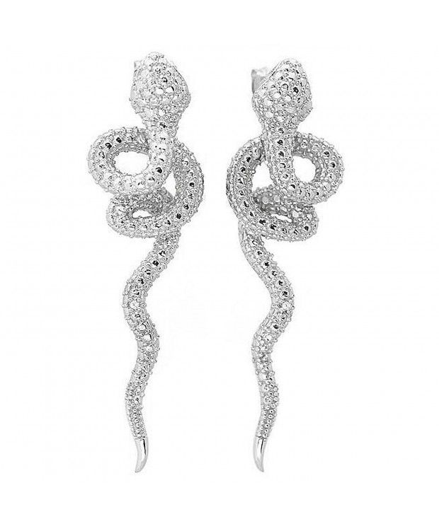 d21c26058 Earrings, Drop & Dangle,Sterling Silver Diamond Snake Earrings (G-H- SI1-