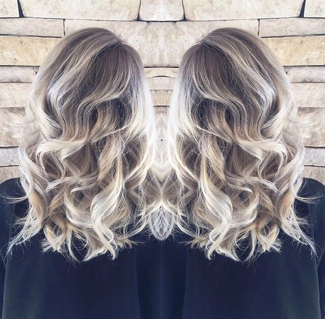 Ash blonde white balayage hair style ombré beach waves
