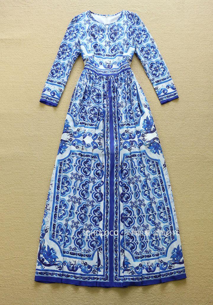 High Quality New Fashion 2016 Autumn Designer Runway Maxi Dress Women's Long Sleeve Blue and White Printed Long Maxi Dress