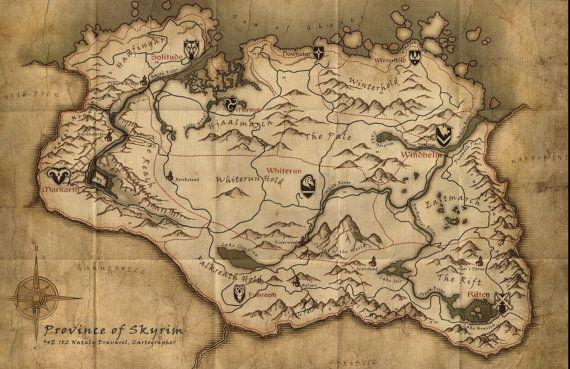 Skyrim Elder Scrolls V World Map Poster by TheGreenDragonInn