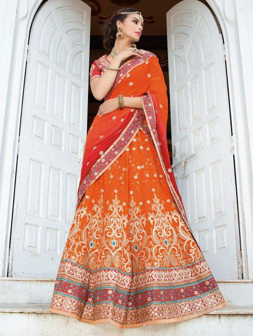 Orange Georgette Lehenga Choli with Resham Embroidery Work