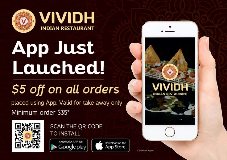 Vividh Indian Restaurant App just launched on both Android and iOS Platform. Get $5 OFF on all orders placed using App. Valid for taking away only. Minimum Order $35* Conditions Apply. Scan the QR code to install or follow the link: www.vividh.com.au/app  #vividhindianrestaurant #vividh #vividhindianrestaurantapp #vividhapplaunched #getvividhapp #food #discountatvividh