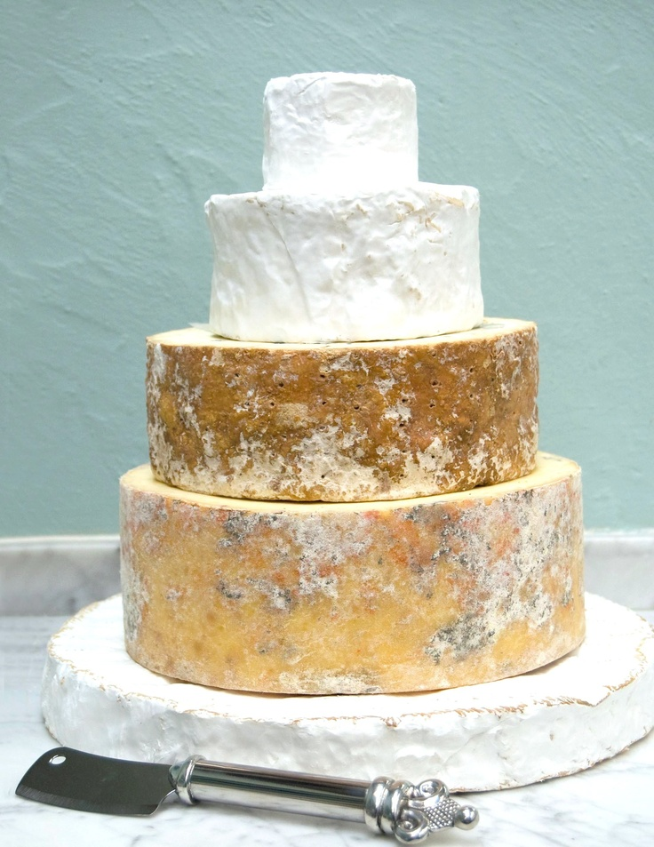 Cheese tower that looks like a cake.