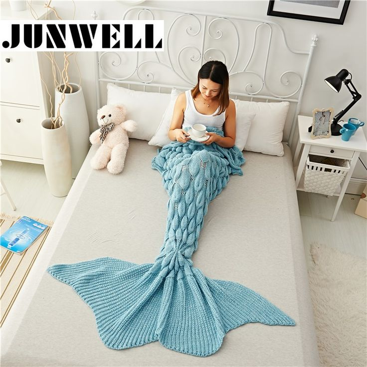 Mermaid Tail Blanket Yarn Knitted Handmade Crochet Mermaid Blanket Kids Throw Bed Wrap Super Soft Sleeping Bed 1PCS/Lot #clothing,#shoes,#jewelry,#women,#men,#hats,#watches,#belts,#fashion,#style