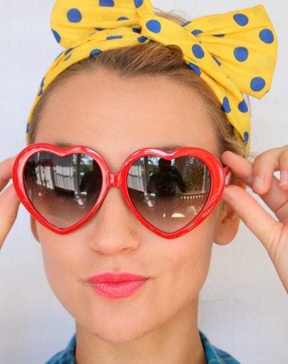 1990s RED HEART Sunglasses..retro. colorful shades. urban ...