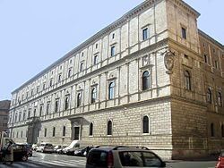 The Palazzo della Cancelleria is a Renaissance palace. It was built between 1489–1513] by Donato Bramante (1444–1514) as a palace for Cardinal Raffaele Riario, Camerlengo of the Holy Roman Church, and is regarded as the earliest Renaissance palace in Rome.