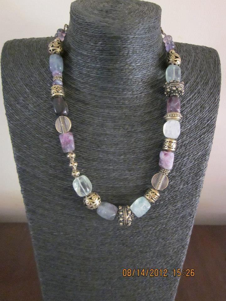 Semi precious fluorite and brass necklace