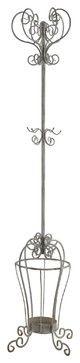 Scrolling Metal Coat Hat Rack Hanger Umbrella Holder Stand, Antique Grey Finish traditional-coat-stands-and-umbrella-stands