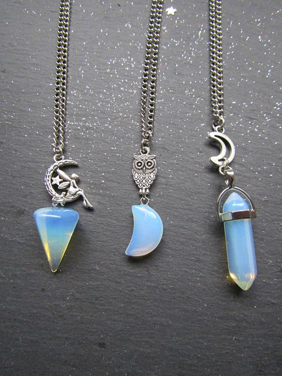 Opalite Necklace  Choose your Style : Moon Fairy Owl and