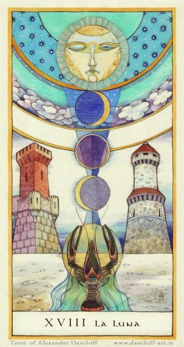 Tarot Card The Moon | From The Tarot of Alexander Daniloff Deck