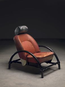 Contemporary chair from recycled leather car seat