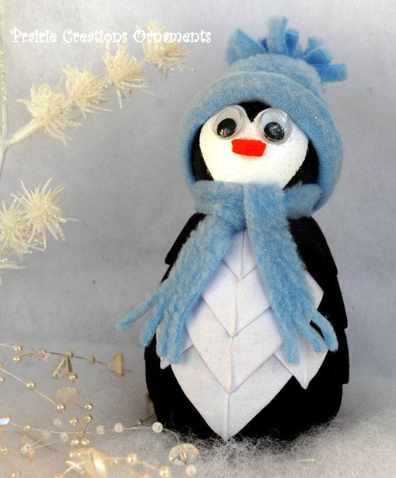 Penguin Quilted Fabric Ornament Tux by MyPrairieCreations on Etsy