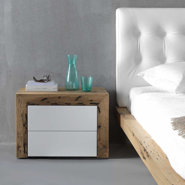 Comodino cloud: bedside table with 80 mm honeycomb structure, 45°-assembled, front drawers with push-pull full extension | milanomondo